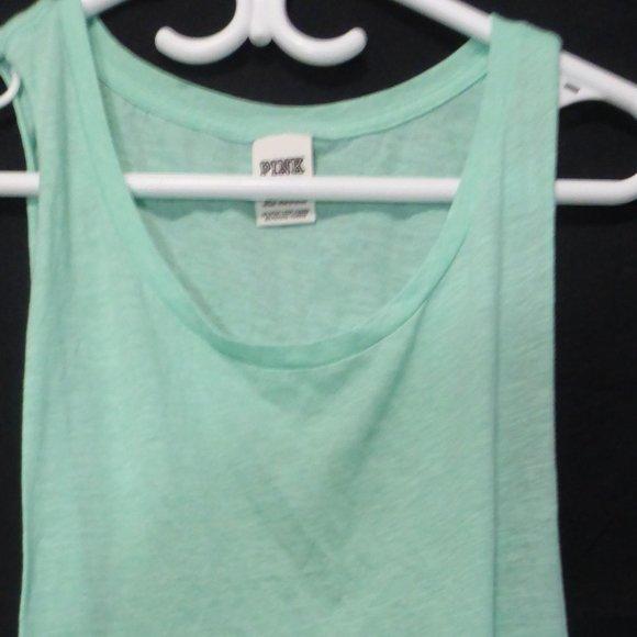 PINK sleeveless tank top, med, light green BNWOT